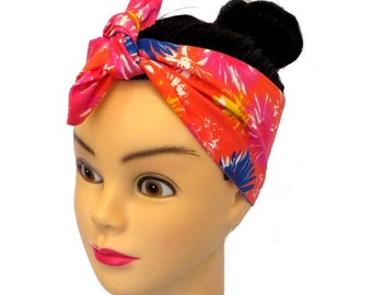 Floral Orange Headband Rockabilly Pin-up Wide Bandana Summer Beach Fifties 50's