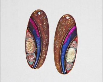 Handmade-Hand painted- Metal-Jewelry Components-Earring Components- Make your own-