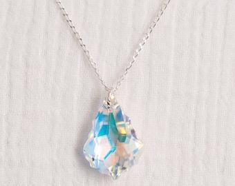 Sterling Silver Aurora Borealis Baroque Swarovski Crystal Necklace