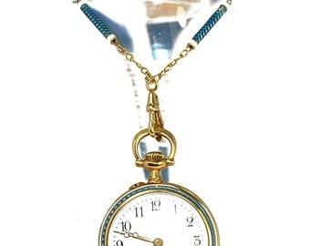 Enamelled pocket watch chain 1900 yellow gold 18K