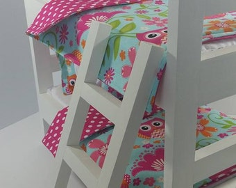 "18"" Doll Bunk Bed Set, Owl Doll Bedding, Made to Fit 18"" Dolls Such as The American Girl Dolls"