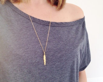 Gold Feather Necklace | Long Gold Necklace | Layering Necklace | Simple Dainty Necklace