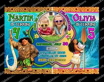 Sibling Invitation-Sibling Invite-Twins Invitation-Moana Double Invitation-Moana invitation-Moana and Maui invitation-Moana Sibling birthday