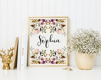 Custom Girl's Name Print-Custom Name Print-Personalized Name Print-Girl's Room-Watercolor Flowers-Pink Flowers-Nursery Print-Wall Art Decor