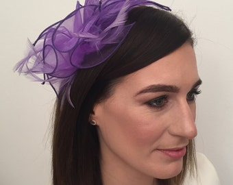 Alicia Purple Organza and Feather Fascinator on Headband Bridal Prom Races Race Day Wedding Hair Piece