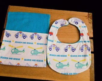 Set of 2  Flannel Cotton/Terry Cloth Burp Cloth and Bib/Search and Rescue