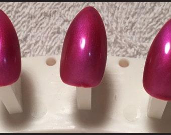 Rose Pink Pearlescent False Nails