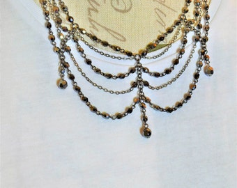 Vintage Antique-Look Victorian Inspired Necklace with Matching Earrings