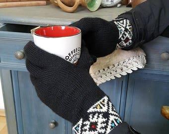 Men Winter Gloves, Cold Weather Hand, Knit Woolen Gloves, Jacquard Pattern, Gloves Knit Fair, Trade Gloves Winter Set Gloves Hat Collar Gift