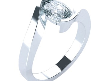 Curvaceous Solitaire Oval Engagement Ring 14K 18K Gold Platinum Palladium 7mm x 5mm (1ct), 8mm x 6mm (1.52ct), 9mm x 7mm (2.25ct)