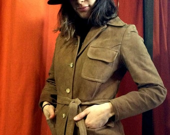 1970's woman's suede suit - Authentic suede vintage jacket and pants - Wide collar blazer and high waist pants
