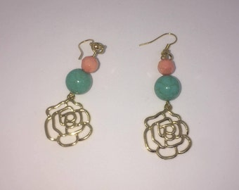 Turquoise, Coral, Gold rose drop earrings