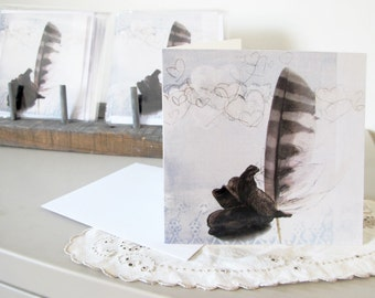 Greeting card with pen, inside blank, square, giclée print