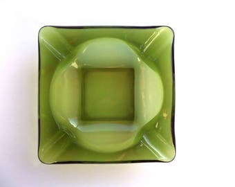 Green Vintage Glass Ashtray Incense Candle Crystal Smudging Tray