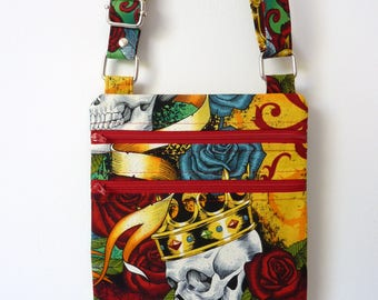 Zip and Go Bag/ Crossbody Bag/ Purse/ Handbag in Alexander Henry - Royal Bright Fabric