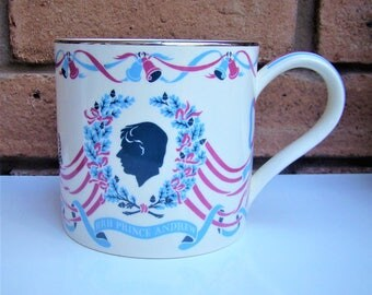 WEDGWOOD RICHARD GUYATT Queen's Ware Royal Wedding Mug Prince Andrew and Sarah Fergusson 1986 July 23rd 1986 number 45 of of Ltd Ed of 750