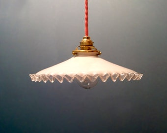 Antique French Ceiling Light In White Opalescent Glass   Pendant Lamp    Opaline Light