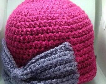 Crochet bow hat, winter hat, women's hat, gifts for mum