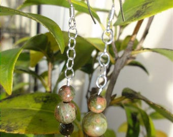 Moranez - Earrings unakite and Sterling Silver 925
