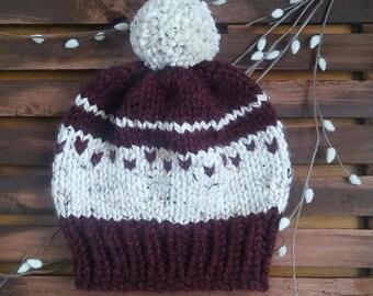 Womens Knit Hat, Knit Beanie, Slouchy Hat with Pom-Pom