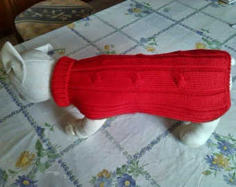 Dog cable knit merino wool sweater or with Pocket