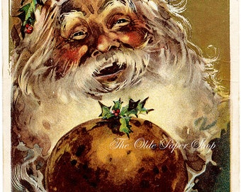 Vintage Christmas Postcard Jolly Santa Claus Holding Platter of Plum Pudding Julius Bien 1908