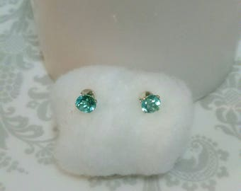 Blue Green Apatite Earrings, Natural Apatite Studs, 5mm Blue Green Apatite Stud Earrings