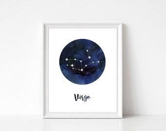 Virgo Constellation, Virgo Print, Virgo Home Decor, Virgo Wall Decor, Virgo Wall Art, Zodiac Print, Virgo Stars, Zodiac Constellation