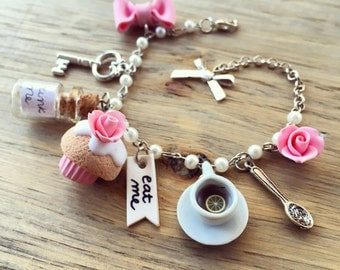 Alice in Wonderland inspired bracelet, with Cupcake, Rose, Key, Cup of Tea, Eat Me, Drink Me, Miniature Food