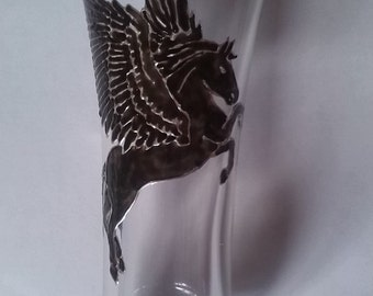 Painted glass: black Pegasus