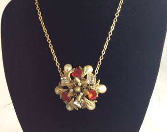 1960's Glamourous, Ornate Pendant on Chain with Faux Pearls and Clear & Ruby Stones