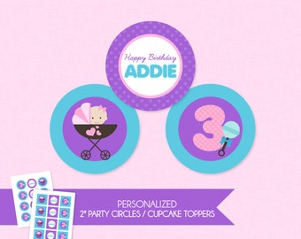 Sweet Baby Doll 2'' Cupcake Toppers / Birthday Party Circles