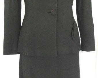 Vintage 1940/1950's Black EISENBERG ORIGINAL Suit - 100% Virgin Wool