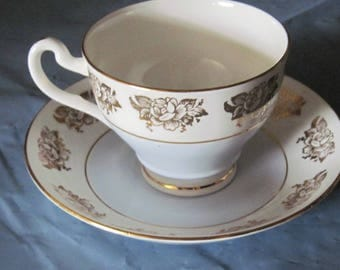 CROWNFORD Cup & Saucer w. Gold Roses