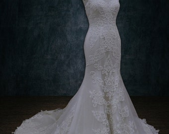 Wedding dress, Mermaid Trumpet Silhouette, Lace Applique, Sweetheart Neckline, Illusion Back
