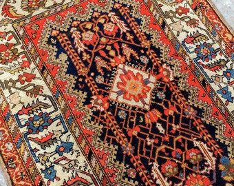 "Antique Persian Bakhtiari Runner - 3'4"" X 9'"