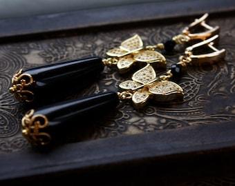 BLACK BUTTERFLY EARRINGS, gold butterfly earrings, best gift for mom, present for her, lovely earrings, pretty earrings, best present, gift