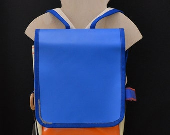 Children's backpack Orange Blue and white Pvc recycling, great for kindergarten and for adventures!