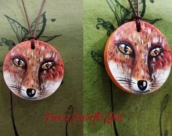 "Pendant handpainted wooden ""Fox"""