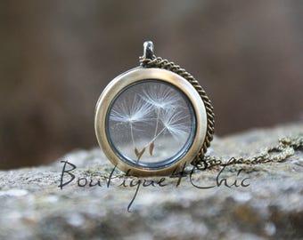 Dandelion necklace, Real Dandelion necklace, dandelion locket