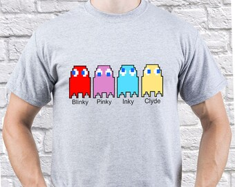 Pacman/ Pac Man game/ Pacman Ghosts/ men tshirt/ Pacman Ghosts tee/ Funny gift/ Nice tshirt/ camping clothing/ camping tshirt/ tee/ (PAC04)