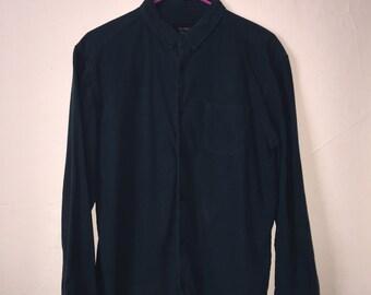 Vintage Dark Green Button-down Shirt