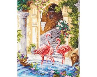 Counted Cross Stitch Kit - Pink flamingos (Wonderful needle) - Birds cross stitch pattern - Flamingos cross stitch - Gift kit