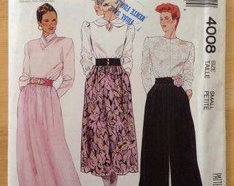 McCall's 4008, Vintage 1980s Misses Skirt and Pants Pattern, Size Small 10-12, Uncut