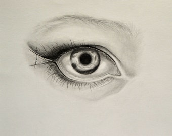 Original Art Pencil and Ink Drawing study of an Eye Black & White