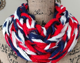 Football Scarf/Arm Knit Cowl/Patriotic Cowl/Infinity Scarf/Football Season Attire
