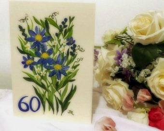 Handpainted Card - '60' - Blue Daisies