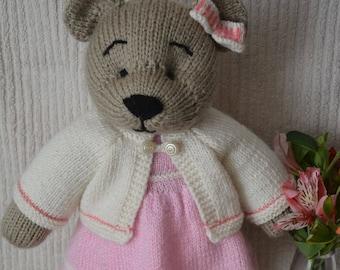 Soft toy knitted bear Ka