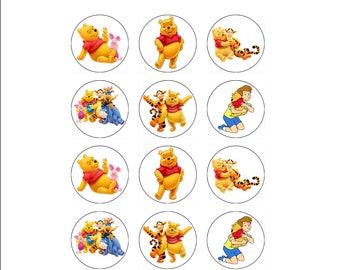 Edible Winnie the Pooh Cupcake Toppers, 12 edible icing image toppers, Winnie the Pooh birthday party supplies, cake decoration, cake image