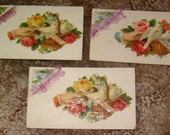 3 Victorian Calling Cards (Hands, Fancy Corner)